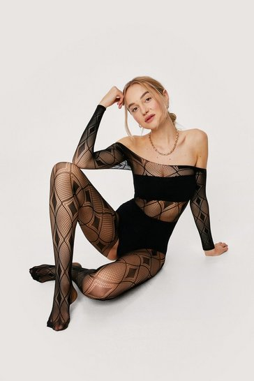 Black Let's Fishnet It On Crotchless Body Stocking
