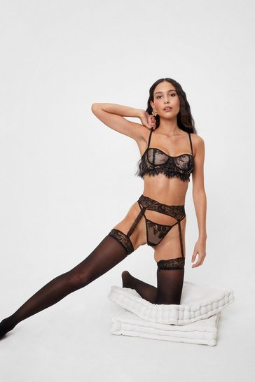 Black Pick Up the Lace Sheer Suspender Stockings