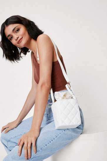 White WANT Quilted Box Crossbody Bag