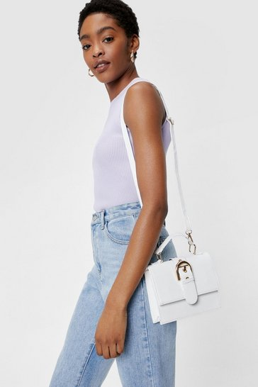 White WANT Give a Buckle Crossbody Bag