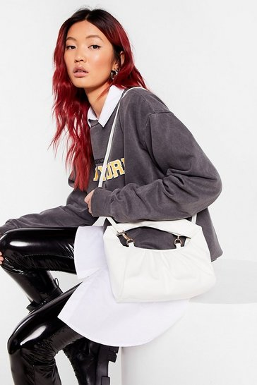 White WANT We're on the Slouch Shoulder Bag