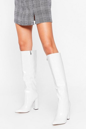 White We Knee Business Faux Leather Croc Boots