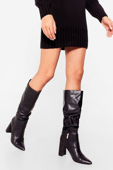 Black Make an Entrance Faux Leather Knee-High Boots