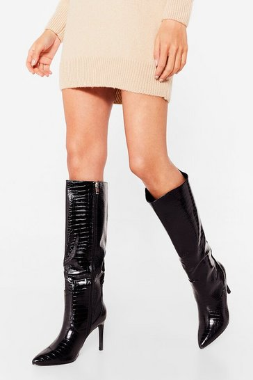 Black Crocin' and Rollin' Patent Stiletto Boots