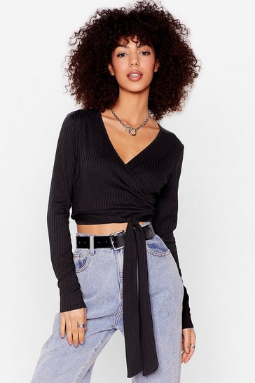 Black That's a Wrap Ribbed Crop Top