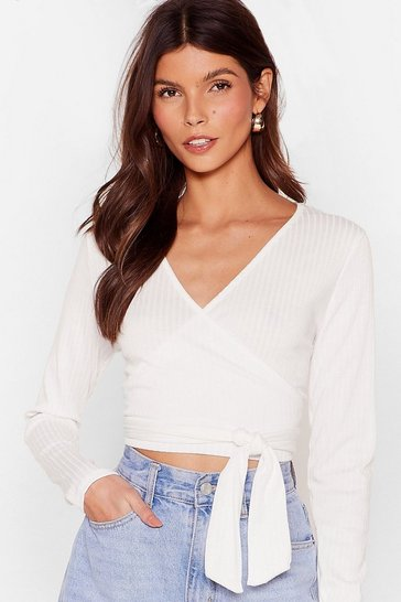 Cream That's a Wrap Ribbed Crop Top