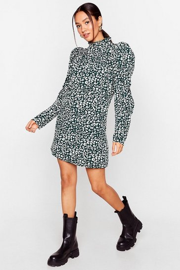 Green Puff Crowd Petite Leopard Mini Dress