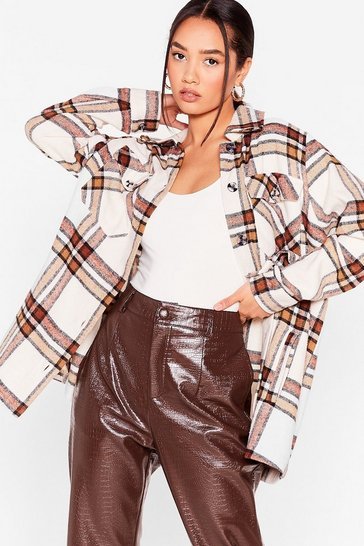 White Petite Check Oversized Shirt Jacket