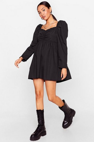 Black Puff Love Petite Sweetheart Mini Dress