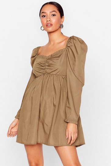 Olive Puff Love Petite Sweetheart Mini Dress