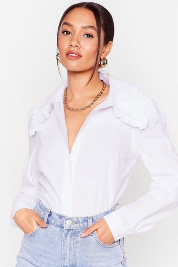White Petite Oversized Collar Button Up Shirt
