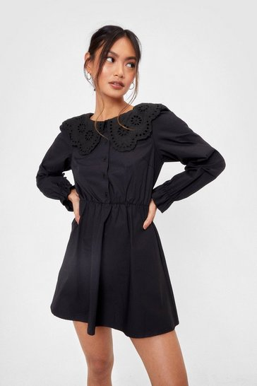 Black Collar You Later Petite Shirt Dress