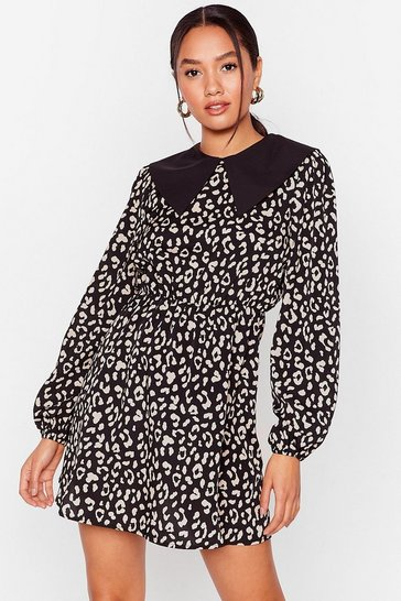 Black Collar Me Later Petite Leopard Dress