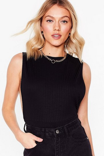 Black Petite Drop Armhole High Leg Bodysuit