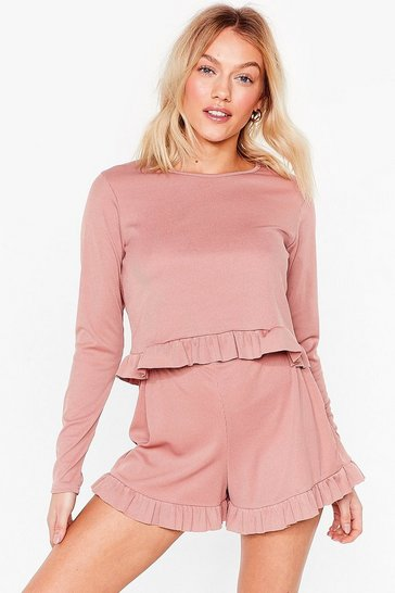 Blush You Frill Be Missed Petite Pajama Shorts Set