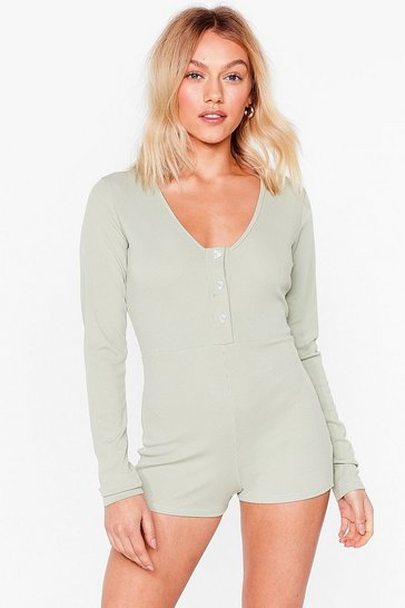 Sage Button on the Radar Button-Down Petite Lounge Romper