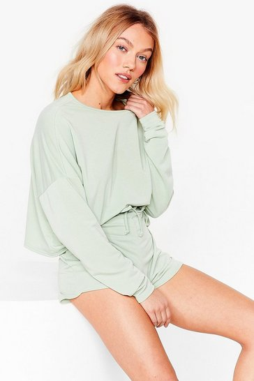 Sage Running It By 'Em Petite Sweatshirt and Shorts Set
