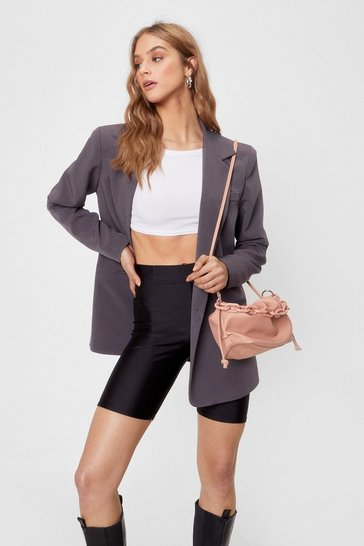 Peach WANT Slouchy Chain Faux Leather Crossbody Bag