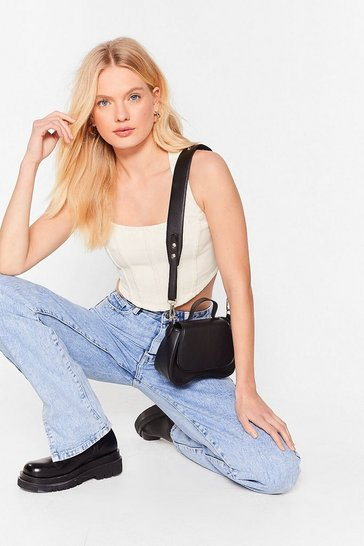 Black PU mini satchel crossbody bag