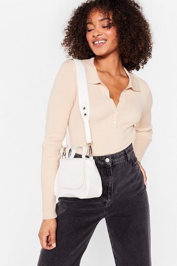 White WANT Faux Leather Flap Top Crossbody Bag