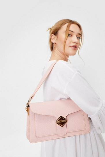 Peach WANT Faux Leather Flap Top Shoulder Bag