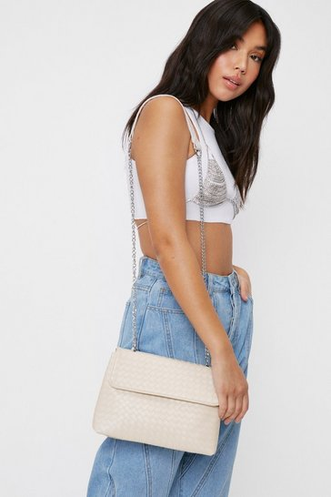 Beige WANT Woven Flap Top Crossbody Bag