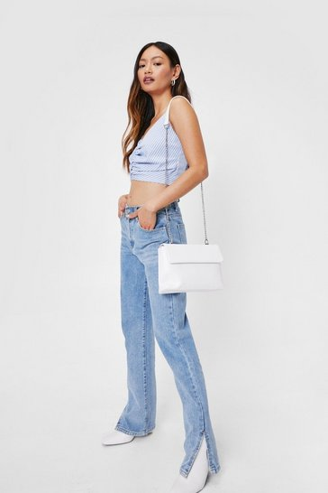 White WANT Woven Flap Top Crossbody Bag