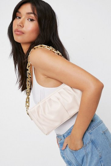 Beige WANT Slouchy Faux Leather Chain Shoulder Bag