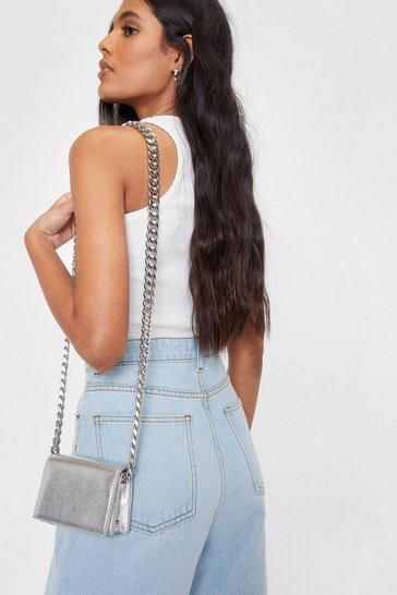 Silver WANT Metallic Mini Crossbody Bag