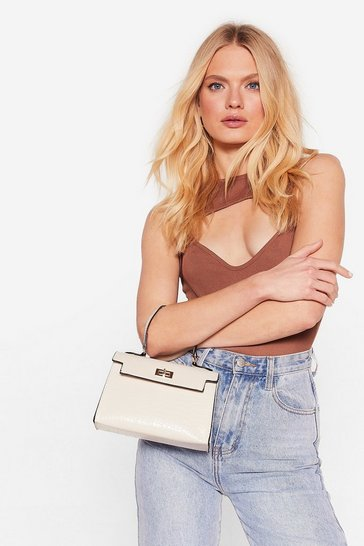 Beige WANT Structured Croc Crossbody Bag
