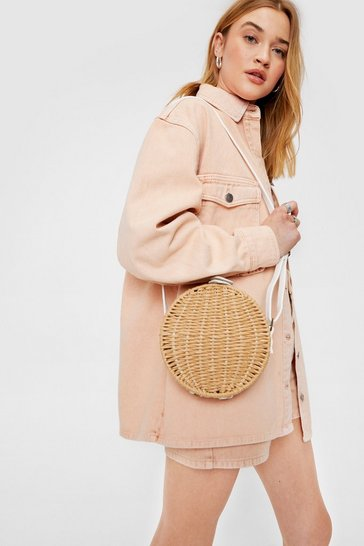 Natural WANT Woven Circle Crossbody Bag