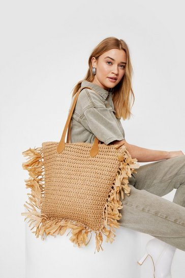 Tan WANT Woven Fringe Tote Bag