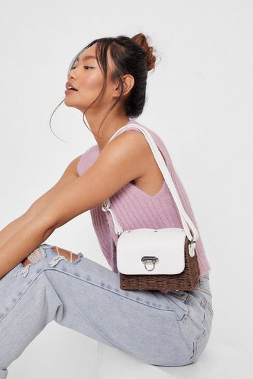 White WANT Faux Leather Woven Crossbody Bag