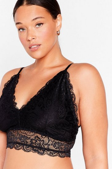 White Plus Size Lace Triangle Bra Top