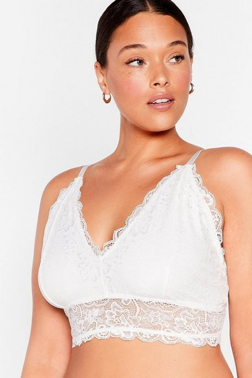 White Lace Work Things Out Plus Bra Top