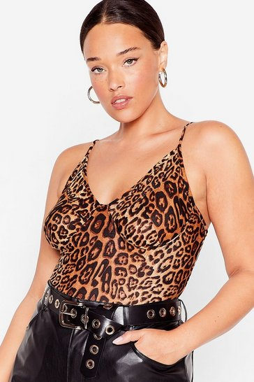 Brown Plus Size Leopard Cut Out Bodysuit