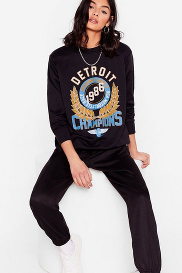 Black Race 'Em to It Detroit Relaxed Graphic Sweatshirt