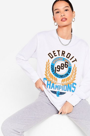 White Race 'Em to It Detroit Relaxed Graphic Sweatshirt
