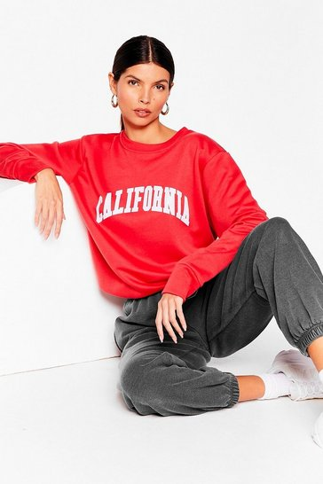 Red California Girls Oversized Graphic Sweatshirt
