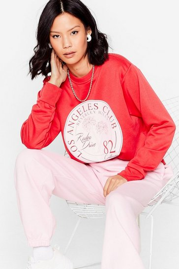 Red Oversized Rodeo Drive Graphic Sweatshirt