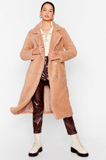Biscuit Get Teddy For It Faux Fur Longline Coat