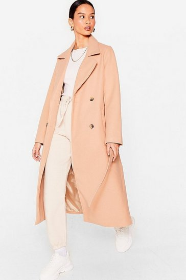 Camel Love You Longline Belted Faux Wool Coat