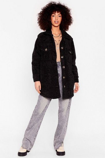 Black Oversized Longline Faux Fur Shacket