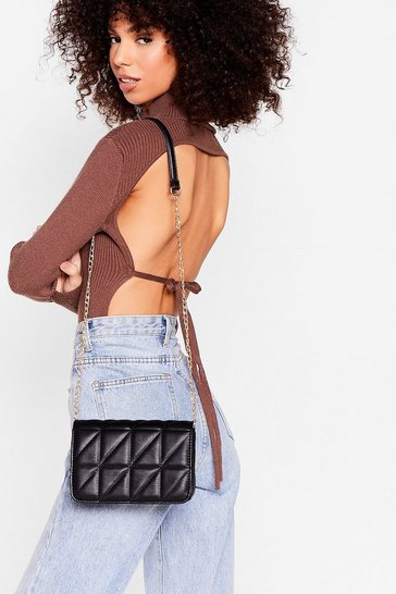 Black WANT Quilted Chain Crossbody Bag