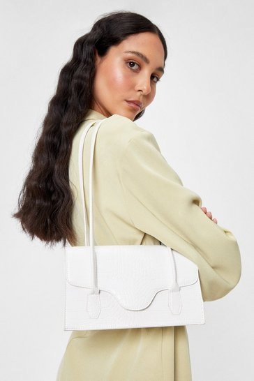 White Faux Leather Croc Structured Shoulder Bag