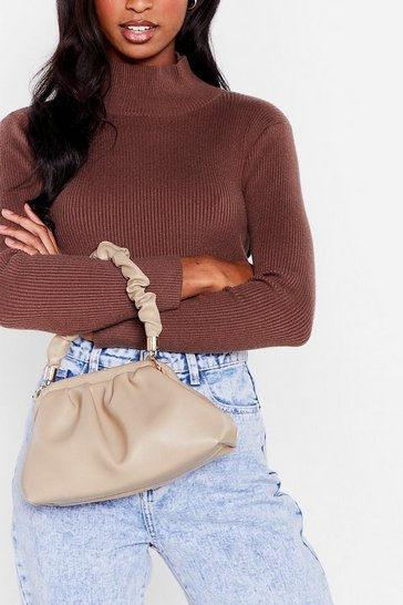 Nude There's No Ruche Faux Leather Shoulder Bag