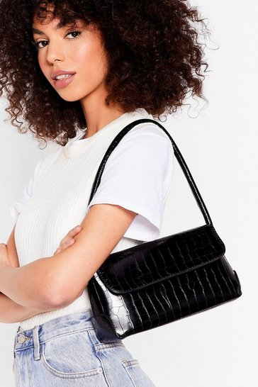 Black Croc Flap Top Shoulder Bag