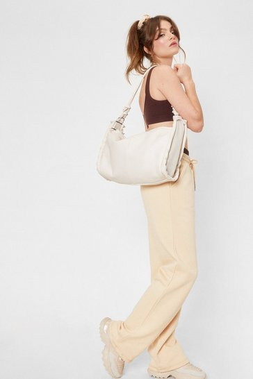 Cream WANT Faux Leather Knot Oversized Day Bag
