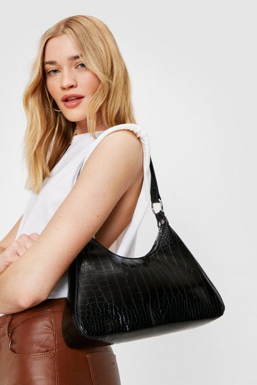 Black Croc Structured Shell Shoulder Bag