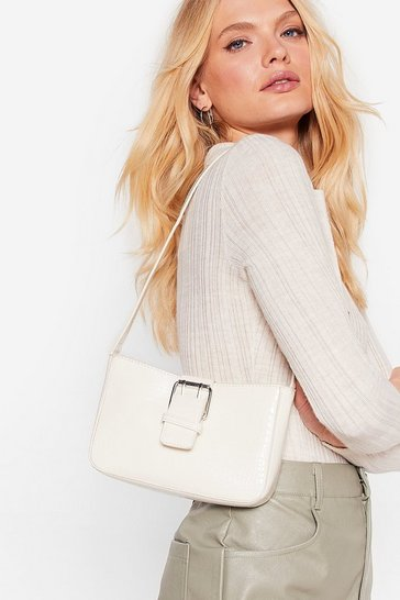 White WANT Faux Leather Croc Buckle Shoulder Bag